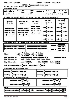 Bài tập Đại số và Giải tích Lớp 11 - Bài 2: Phương trình lượng giác - Lê Đình Năng