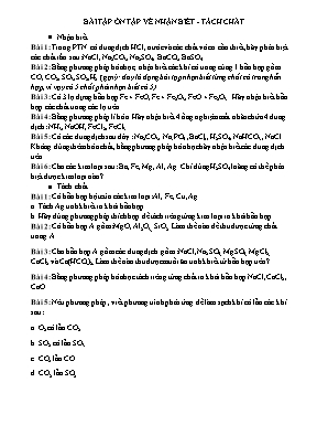 Bài tập Hóa học 9: Ôn tập về nhận biết - Tách chất