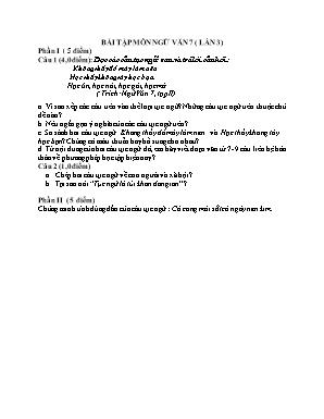 Bài tập môn Ngữ văn 7 (Lần 3)