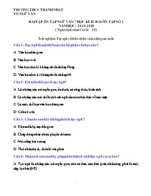 Bài tập ôn tập Ngữ văn 7 học kỳ II - Năm học 2019-2020 - Bài ôn tập số 3 (Nghỉ dịch cúm covid-19) - Trường THCS Thành Nhất