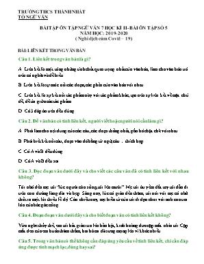 Bài tập ôn tập Ngữ văn 7 học kỳ II - Năm học 2019-2020 - Bài ôn tập số 5 (Nghỉ dịch cúm covid-19) - Trường THCS Thành Nhất