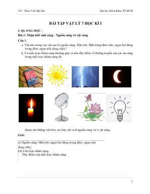 Bài tập Vật lý 7 - Học kì I - Phan Văn Đạt Em