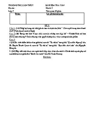 Bộ đề kiểm tra 1 tiết môn Ngữ văn Lớp 7 - Trường THCS Sơn Thủy