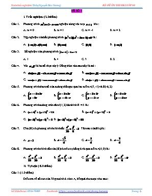 Bộ đề Ôn thi học kỳ II môn Toán Lớp 10 - Nguyễn Bảo Vương
