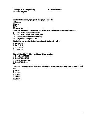 Câu hỏi kiểm tra môn Hóa học Lớp 9 - Trần Thị Vân