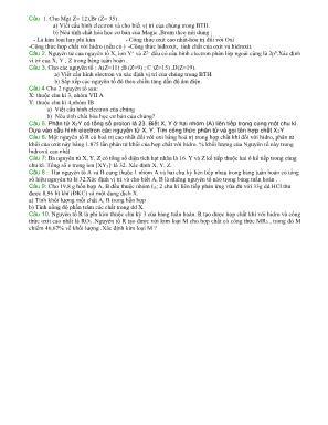 Câu hỏi luyện thi Tốt nghiệp THPT môn Hóa học