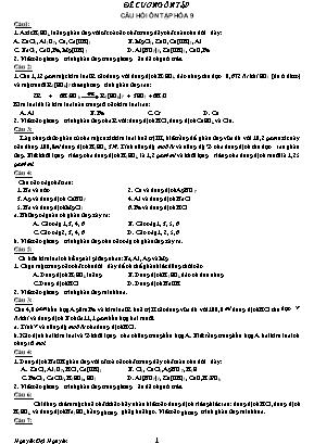 Câu hỏi ôn tập Hóa học 9 - Nguyễn Đại Nguyên