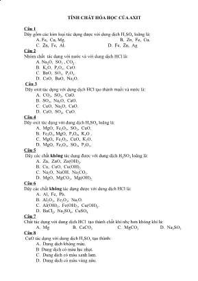 Câu hỏi ôn tập Hóa học 9: Tính chất hóa học của axit