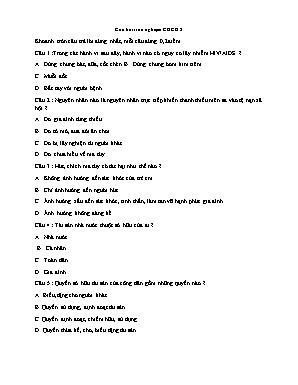 Câu hỏi trắc nghiệm môn Giáo dục công dân Lớp 8