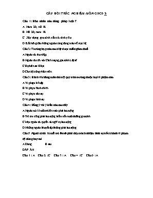 Câu hỏi trăc nghiệm môn Giáo dục công dân Lớp 9