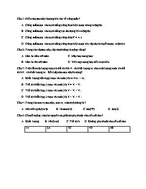 Câu hỏi trắc nghiệm môn Vật lý Lớp 8