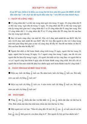 Chuyên đề luyện thi học sinh giỏi môn Toán Lớp 7