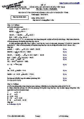 Đáp án đề thi chọn học sinh giỏi cấp tỉnh môn Hóa học Lớp 9 THCS - Đề 17 - Năm học 2011-2012 - Sở giáo dục và đào tạo Tiền Giang