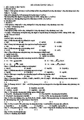 Đề cương ôn tập Hóa học Lớp 11