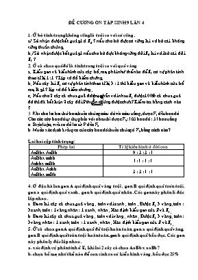 Đề cương ôn tập môn Sinh học Lớp 9 (Lần 4)