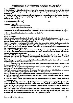 Đề cương ôn tập Vật lý Lớp 8 - Chương I: Chuyển động. Vận tốc