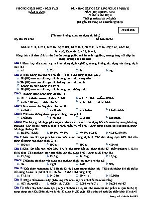 Đề khảo sát chất lượng Lớp 9 (Lần 2) môn Hóa học - Mã đề 008 - Năm học 2019-2020 - Phòng giáo dục và đào tạo Cẩm Giàng