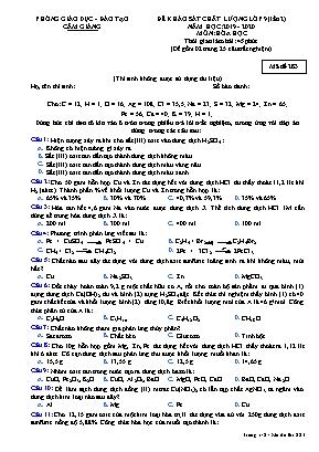 Đề khảo sát chất lượng Lớp 9 (Lần 2) môn Hóa học - Mã đề 283 - Năm học 2019-2020 - Phòng giáo dục và đào tạo Cẩm Giàng