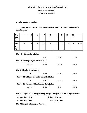 Đề khảo sát giai đoạn III môn Toán Lớp 7 - Năm học 2016-2017 (Có đáp án)