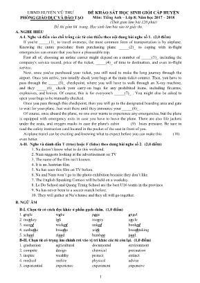 Đề khảo sát học sinh giỏi cấp huyện môn Tiếng Anh Lớp 8 - Năm học 2017-2018 - Phòng giáo dục và đào tạo huyện Vũ Thư