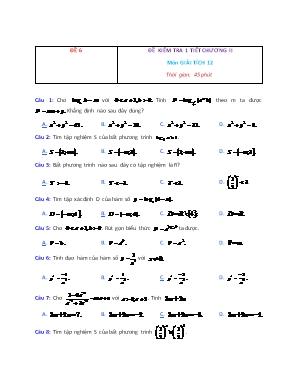Đề kiểm tra 1 tiết Chương II môn Giải tích 12 - Đề 6