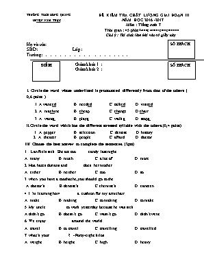 Đề kiểm tra chất lượng giai đoạn III môn Tiếng Anh Lớp 7 - Năm học 2016-2017 - Phòng giáo dục và đào tạo Nam Trực (Có đáp án)