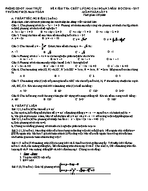 Đề kiểm tra chất lượng giai đoạn III môn Toán Lớp 9 - Năm học 2016-2017 - Trường THCS Nam Toàn (Có đáp án)