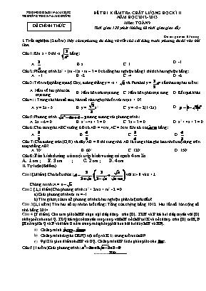 Đề kiểm tra chất lượng giữa học kỳ II môn Toán Lớp 9 - Năm học 2012-2013 - Trường THCS Nam Cường (Có đáp án)