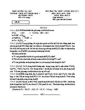 Đề kiểm tra chất lượng học kì 1 môn Hóa học Lớp 9 - Năm học 2019-2020 - Phòng GD và ĐT Cai Lậy