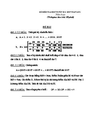 Đề kiểm tra chọn nguồn học sinh giỏi môn Toán Lớp 6 - Phòng GD và ĐT Đông Hưng (Có đáp án)