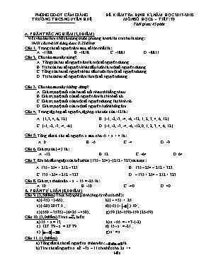 Đề kiểm tra định kỳ môn Toán Lớp 6 - Năm học 2017-2018 - Trường THCS Nguyễn Huệ (Có đáp án)