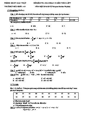 Đề kiểm tra giai đoạn III môn Toán Lớp 7 - Năm học 2016-2017 - Trường THCS Nghĩa An (Có đáp án)