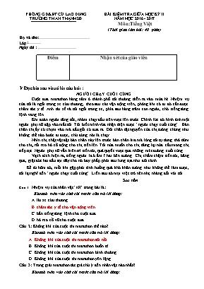 Đề kiểm tra giữa học kỳ II môn Tiếng Việt Lớp 4 - Năm học 2016-2017 - Trường TH An Thạnh 2B (Có đáp án)