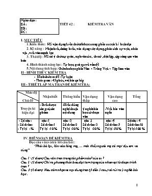 Đề kiểm tra giữa kỳ I môn Ngữ văn Lớp 8 - Năm học 2019-2020 - Hà Thị Nụ