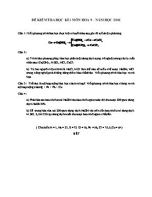Đề kiểm tra học kì 1 môn Hóa học Lớp 9 năm 2001 - Sở giáo dục và đào tạo Đà Nẵng