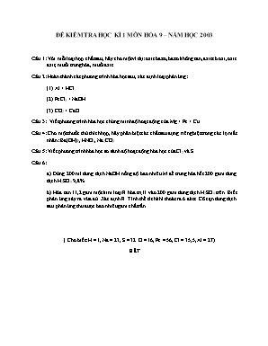 Đề kiểm tra học kì 1 môn Hóa học Lớp 9 năm 2003 - Sở giáo dục và đào tạo Đà Nẵng