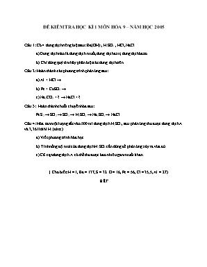 Đề kiểm tra học kì 1 môn Hóa học Lớp 9 năm 2005 - Sở giáo dục và đào tạo Đà Nẵng