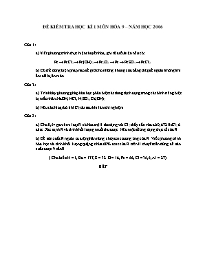 Đề kiểm tra học kì 1 môn Hóa học Lớp 9 năm 2006 - Sở giáo dục và đào tạo Đà Nẵng