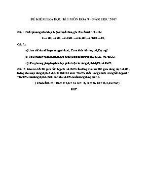 Đề kiểm tra học kì 1 môn Hóa học Lớp 9 năm 2007 - Sở giáo dục và đào tạo Đà Nẵng