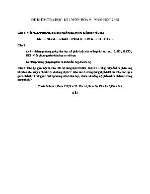 Đề kiểm tra học kì 1 môn Hóa học Lớp 9 năm 2008 - Sở giáo dục và đào tạo Đà Nẵng