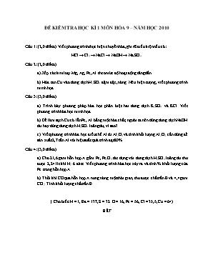 Đề kiểm tra học kì 1 môn Hóa học Lớp 9 năm 2010 - Sở giáo dục và đào tạo Đà Nẵng
