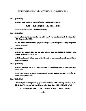 Đề kiểm tra học kì 1 môn Hóa học Lớp 9 năm 2011 - Sở giáo dục và đào tạo Đà Nẵng