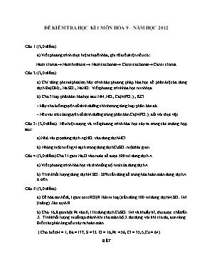 Đề kiểm tra học kì 1 môn Hóa học Lớp 9 năm 2012 - Sở giáo dục và đào tạo Đà Nẵng