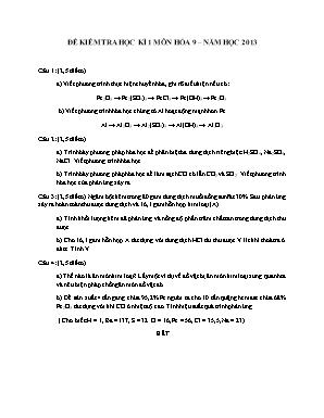 Đề kiểm tra học kì 1 môn Hóa học Lớp 9 năm 2013 - Sở giáo dục và đào tạo Đà Nẵng