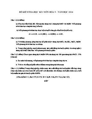 Đề kiểm tra học kì 1 môn Hóa học Lớp 9 năm 2014 - Sở giáo dục và đào tạo Đà Nẵng