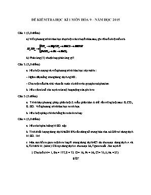 Đề kiểm tra học kì 1 môn Hóa học Lớp 9 năm 2015 - Sở giáo dục và đào tạo Đà Nẵng