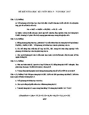 Đề kiểm tra học kì 1 môn Hóa học Lớp 9 năm 2017 - Sở giáo dục và đào tạo Đà Nẵng