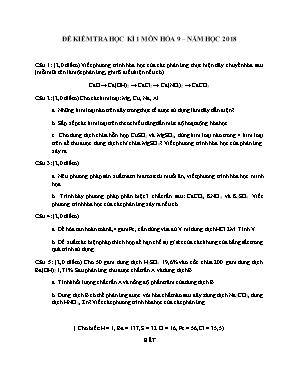 Đề kiểm tra học kì 1 môn Hóa học Lớp 9 năm 2018 - Sở giáo dục và đào tạo Đà Nẵng