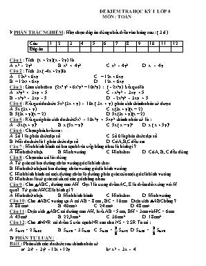Đề kiểm tra học kỳ I môn Toán Lớp 8 (Có đáp án)