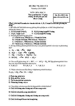 Đề kiểm tra học kỳ II môn Hóa học Lớp 8 - Năm học 2019-2020 (Có đáp án)